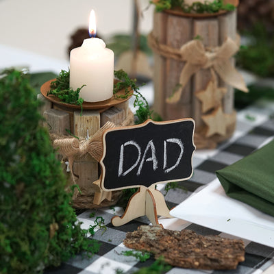 10 Pack | Mini Wooden Chalkboard Table Displays Message Board Signs With Removable Stands