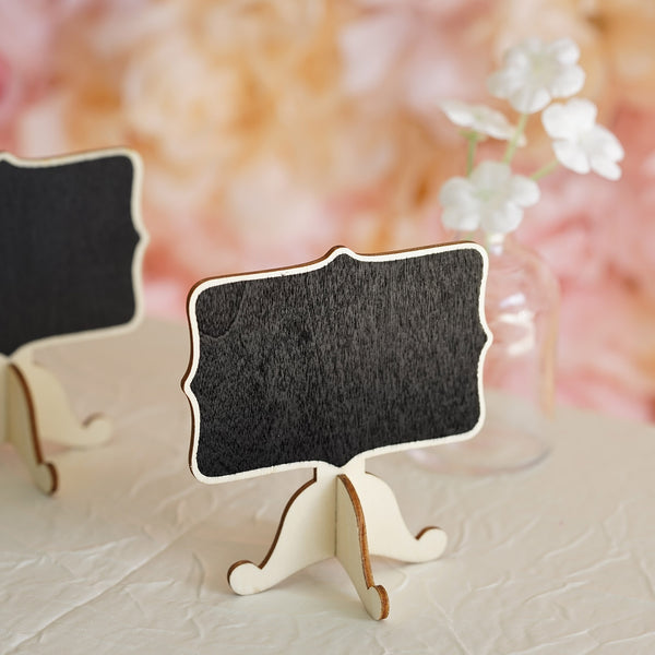 Pack of 10 | Mini Wooden Chalkboard Table Displays Message Board Signs With Removable Stands