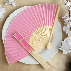 Wholesale Silk Folding Wedding Party Favor Fans Table Top Placecard Holder - Pink