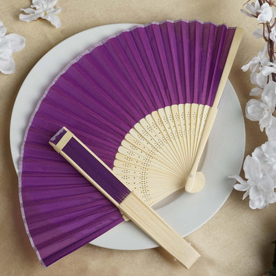 Wholesale Silk Folding Wedding Party Favor Fans Table Top Placecard Holder - Purple
