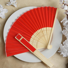 Wholesale Silk Folding Wedding Party Favor Fans Table Top Placecard Holder - Red