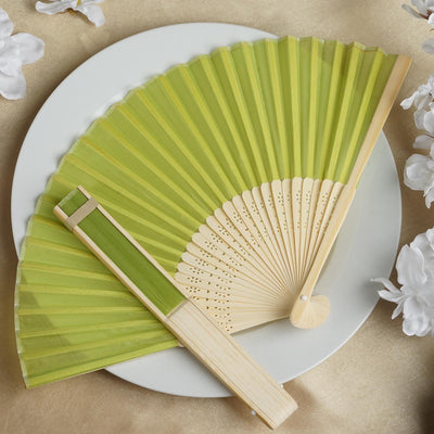 Wholesale Silk Folding Wedding Party Favor Fans Table Top Placecard Holder - Sage Green