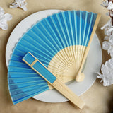 Turquoise Asian Silk Folding Fans