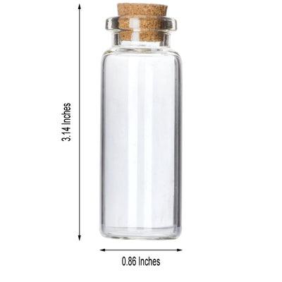 12 Pack .50 OZ Clear Glass Bottle With Cork - Clearance SALE