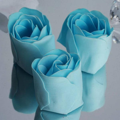 6 Pack Light Blue Scented Rose Flower Soap Gift Favor Box with Ribbon