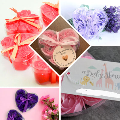 Pack of 6 - Moss  Green Scented Rose Soap Party Favors with Gift Box and Ribbon