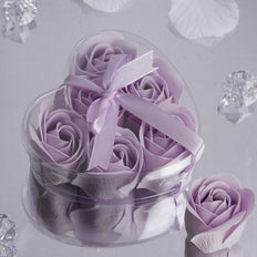 Pack of 6 - Lavender Scented Rose Soap Party Favors with Gift Box and Ribbon
