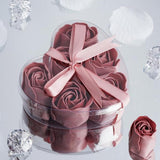 6 Pack Dusty Rose Scented Rose Flower Soap Gift Favor Box with Ribbon