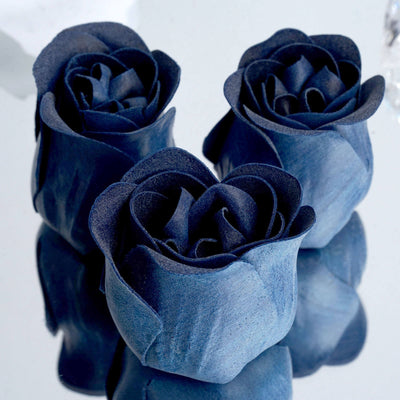 Pack of 6 - Navy Scented Rose Favor Soap Gift Box with Ribbon - Baby Shower Favors