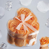 6 Pack Peach Scented Rose Flower Soap Gift Favor Box with Ribbon
