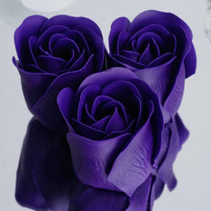 Pack of 6 - Purple Scented Rose Soap Party Favors with Gift Box and Ribbon