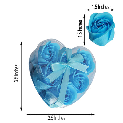 6 Pack | Turquoise Scented Rose Favor Soap Gift Box with Ribbon | Baby Shower Favors