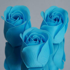 Pack of 6 - Turquoise Scented Rose Soap Party Favors with Gift Box and Ribbon