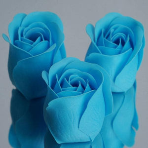 6 Pack Turquoise Scented Rose Flower Soap Gift Favor Box with Ribbon