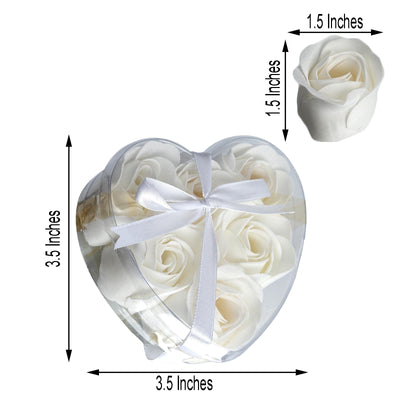 Pack of 6 | White Scented Rose Favor Soap Gift Box with Ribbon | Baby Shower Favors
