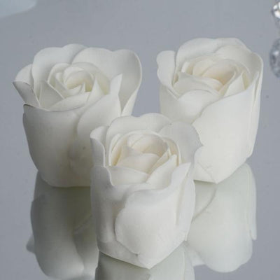6 Pack White Scented Rose Flower Soap Gift Favor Box with Ribbon