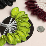 144 Apple Green Poly Wired Craft Leafs With Faux Pearls & Rhinestones