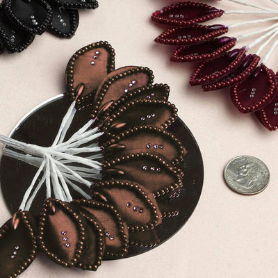 144 Chocolate Poly Wired Craft Leafs With Faux Pearls & Rhinestones