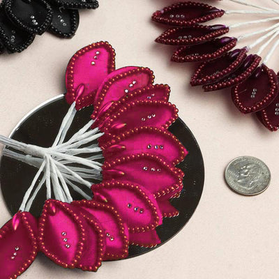 144 Fushia Poly Wired Craft Leafs With Faux Pearls & Rhinestones