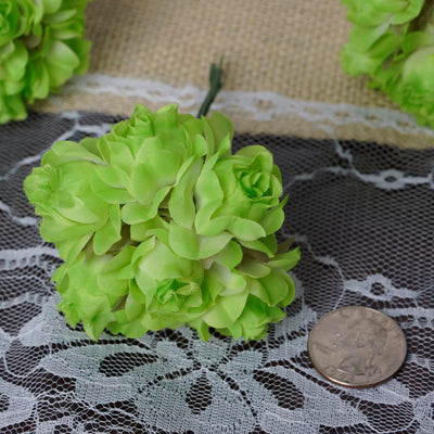 12 Bundle Apple Green Semi Bloomed Craft DIY Silk Roses