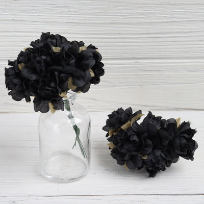 12 Bundle Black Semi Bloomed Craft DIY Silk Roses