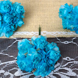 12 Bundle Turquoise Semi Bloomed Craft DIY Silk Roses
