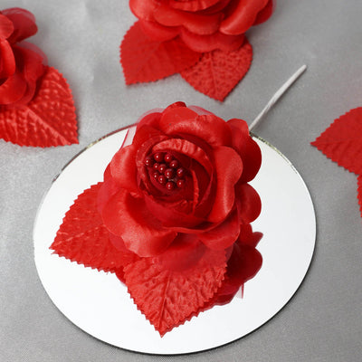 12pcs Red Mini Satin Ribbon Rose Flower Pearl Spray Wedding Appliques Sewing Decor Craft Supplies