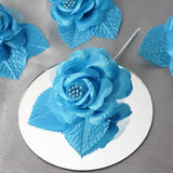 12pcs Turquoise Mini Satin Ribbon Rose Flower Pearl Spray Wedding Appliques Sewing Decor Craft Supplies