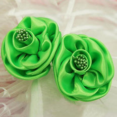 12 Pack Apple Green Pearl Center Satin Craft Rose
