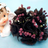 72 Pack | Chocolate Shimmering Organza Rose Craft Flowers