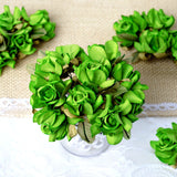 60 Apple Green Mini Paper Rose Flowers