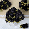 60 Black Mini Paper Rose Flowers