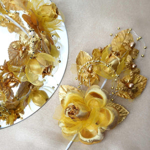 "12 Pack 8"" Gold Hair Barrette Headpiece"