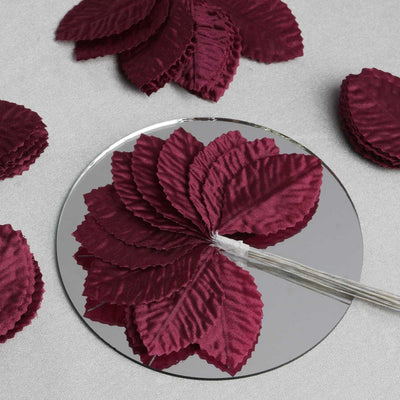 144 Burning Passion Leafs for Craft - Burgundy