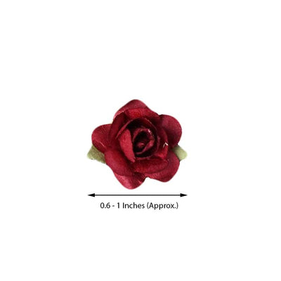 144 Burgundy Paper Mini Flower Roses