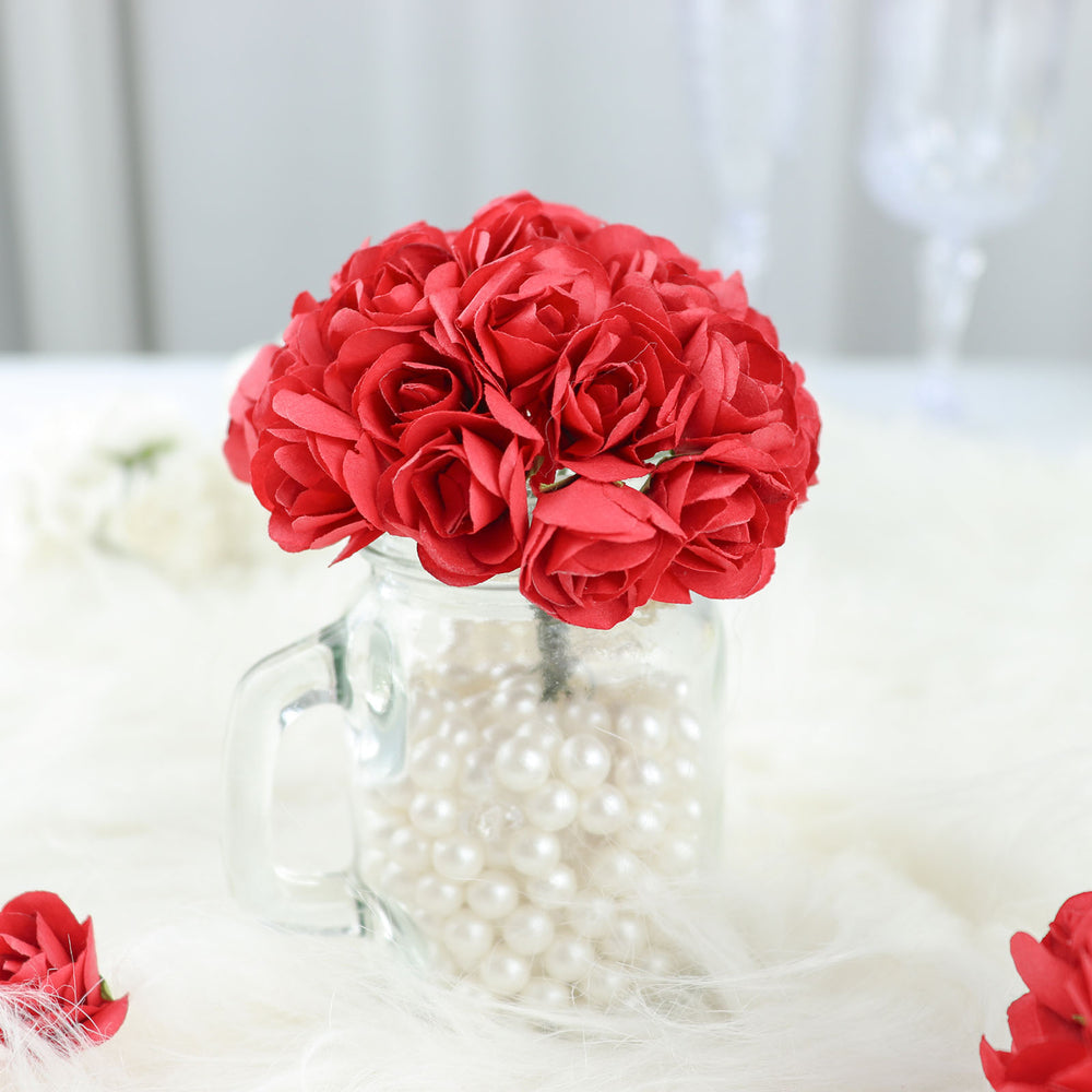 144 Red Paper Mini Flower Roses Tableclothsfactory
