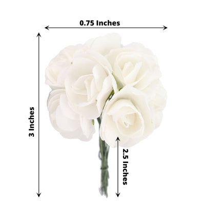 144 White Paper Mini Flower Roses