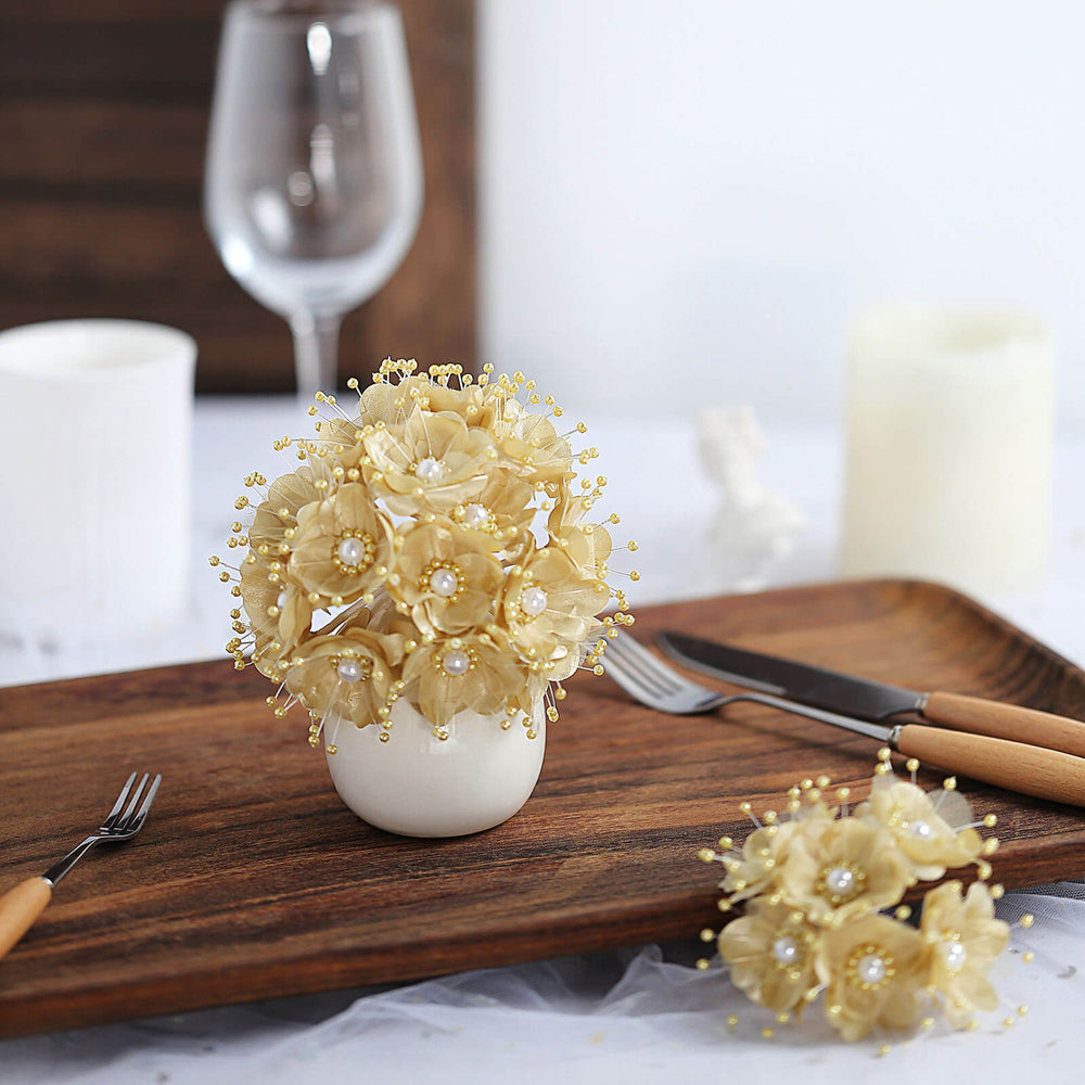 Faux Pearl Decor Flower Braids Corsage Boutineer Craft - Champagne ...
