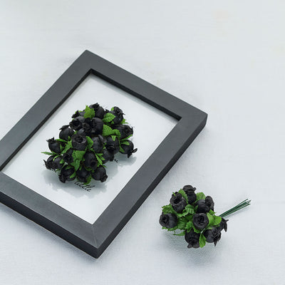 144 Black Poly Rose Buds Wedding Bouquet Flowers Decoration