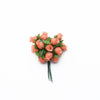 144 Pcs Coral Wired Rose Flowers For Bridal Bouquet Craft Embellishment