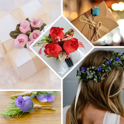 144 Pcs Aqua Wired Rose Flowers For Bridal Bouquet Craft Embellishment