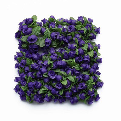 144 Pcs Purple Wired Rose Flowers For Bridal Bouquet Craft Embellishment