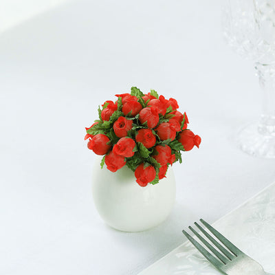 144 Pcs Red Wired Rose Flowers For Bridal Bouquet Craft Embellishment