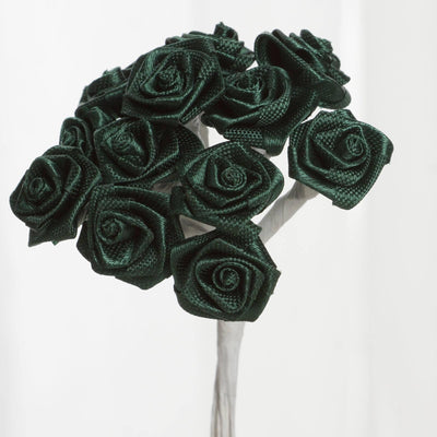 144 PCS Boutonniere Hunter Emerald Green Rosebud Flower Applique DIY Brooch