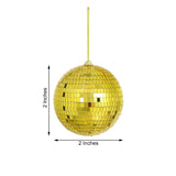 "6 Pcs | 2"" Gold Glass Disco Mirror Ball with Hanging String 
