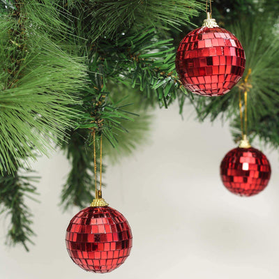 "6 Pcs 2"" Red Glass Mirror Disco Ball 