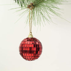 "6 Pcs | 2"" Red Glass Disco Mirror Ball with Hanging String 