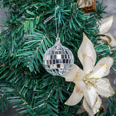 "6 Pcs 2"" Silver Glass Mirror Disco Ball 