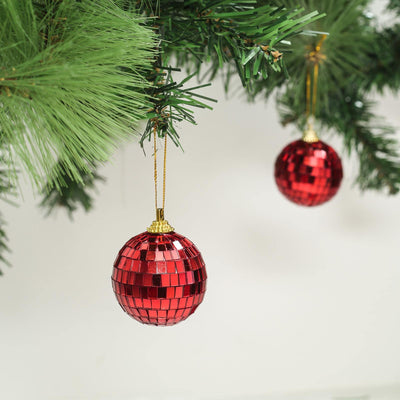 "4 Pcs | 4"" Red Glass Disco Mirror Ball with Hanging String 