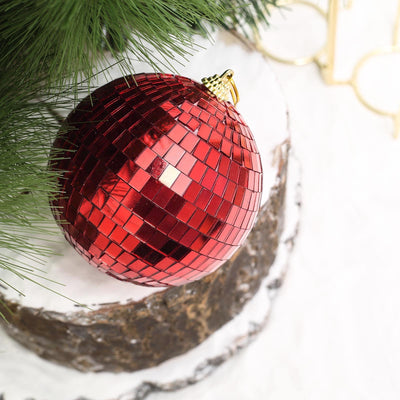 "4 Pcs 4"" Red Glass Mirror Disco Ball 